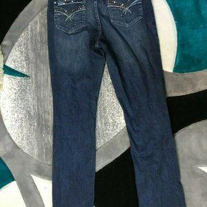 Tru Luxe Womens Blue Boot Cut Dark Wash Stretch